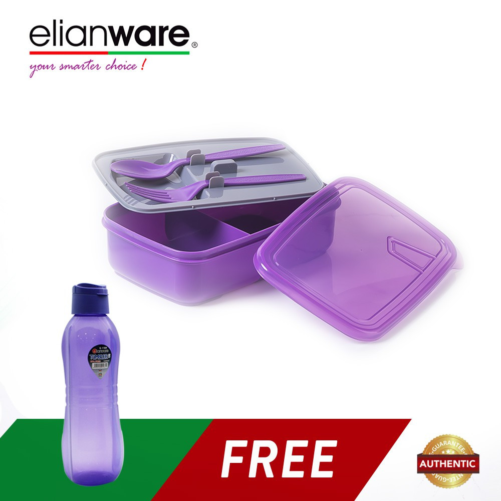 Elianware Convenient 1.3 Ltr Lunch Box Container with Fork & Spoon FREE 1 Ltr BPA Free Water Tumbler