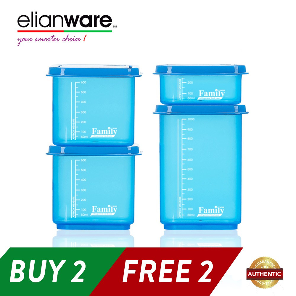 Elianware BPA Free 4 Quality Guaranteed Semi-Transparent Stackable Plastic Food Containers Family Set