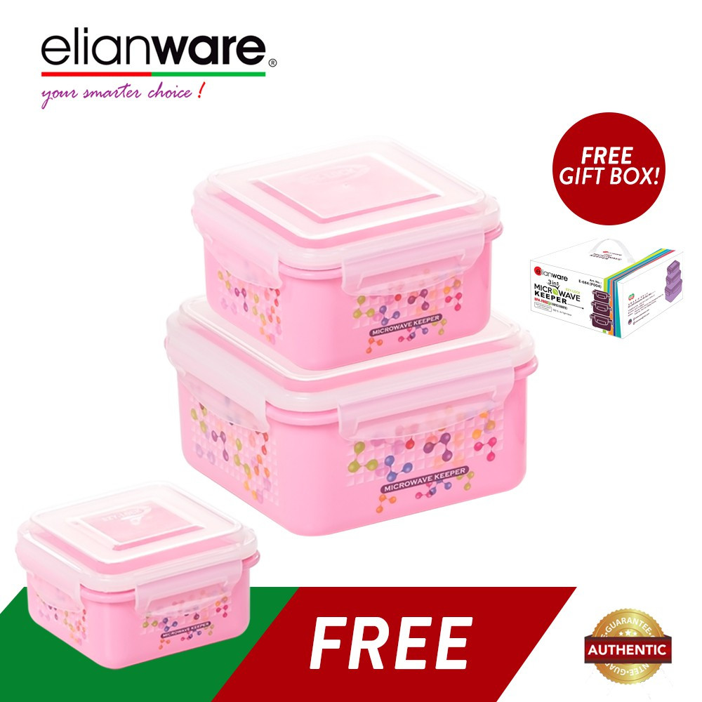 image of Elianware 3 Pcs Ezy-Lock 100% Airtight Neutron Food Containers