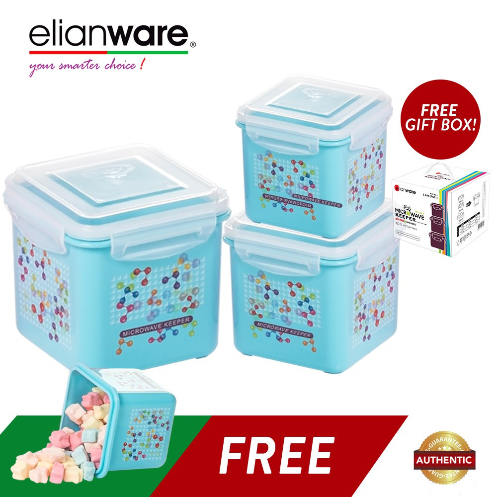 image of Elianware (BUY 3 FREE 1) Ezy-Lock 100% Airtight Neutron Microwavable Food Containers