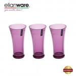 Elianware 550ml x 3Pcs Unbreakable Curvy Fashionable Transparent Cup Set