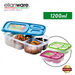Elianware 1.2L 3 Compartment Divided Lunch Box Food Container Microwavable