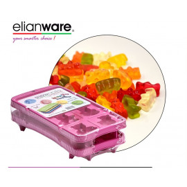 image of Elianware 2 Pcs Pack Happy Bear Stackable Ice Cube and Jelly Mould BPA Free