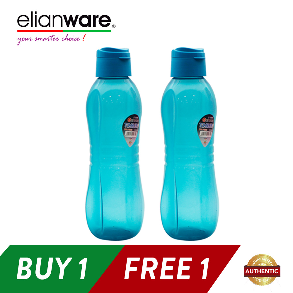 Elianware 2x1000ml BPA Free Sporty Large Flip Top Water Bottle