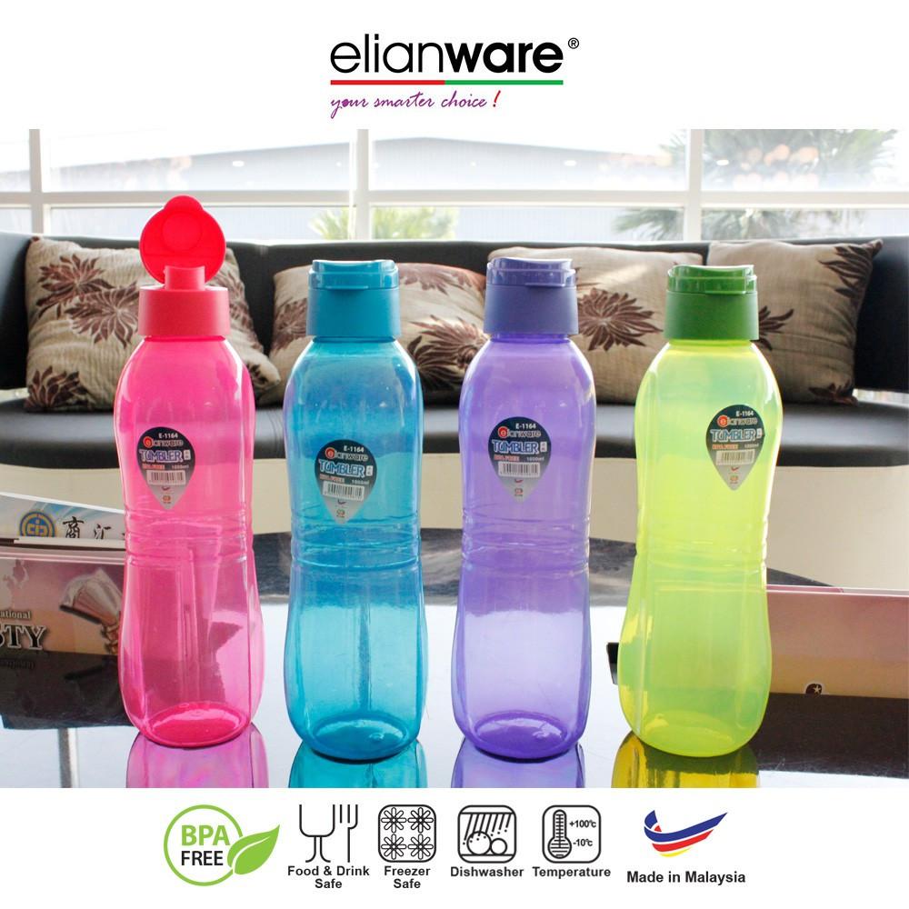Elianware 2x1000ml BPA Free Sporty Large Flip Top Water Bottle