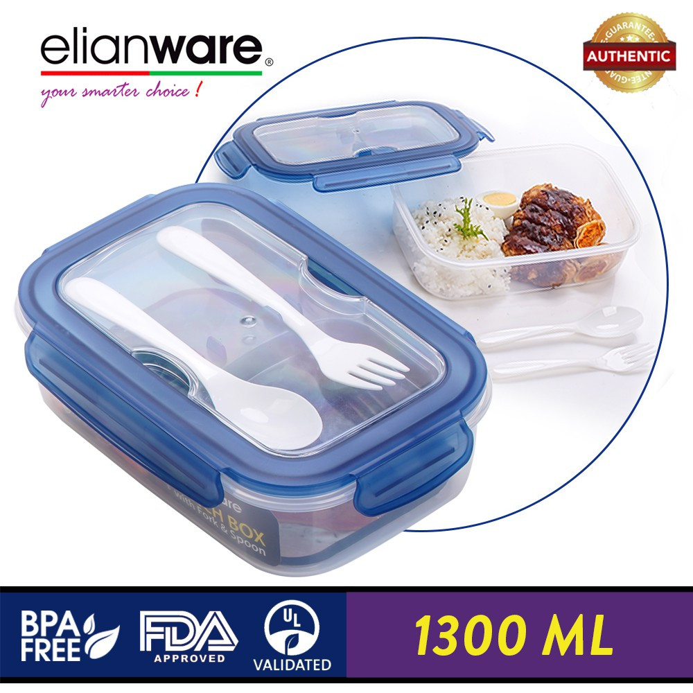 image of Elianware Ezy-Lock Acrylic Microwavable (1.3L) Lunch Box Food Container with Fork & Spoon