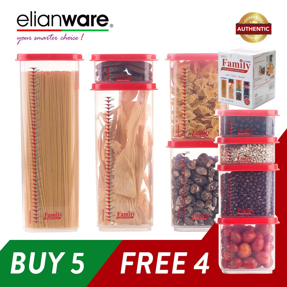 image of Elianware BPA Free Quality Guaranteed Stackable Plastic Food Containers Family Set