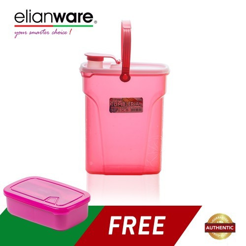 image of Elianware 2.5 Ltr Easy Carry Water Tumbler FREE 1.3 Ltr Lunch Box with Fork & Spoon
