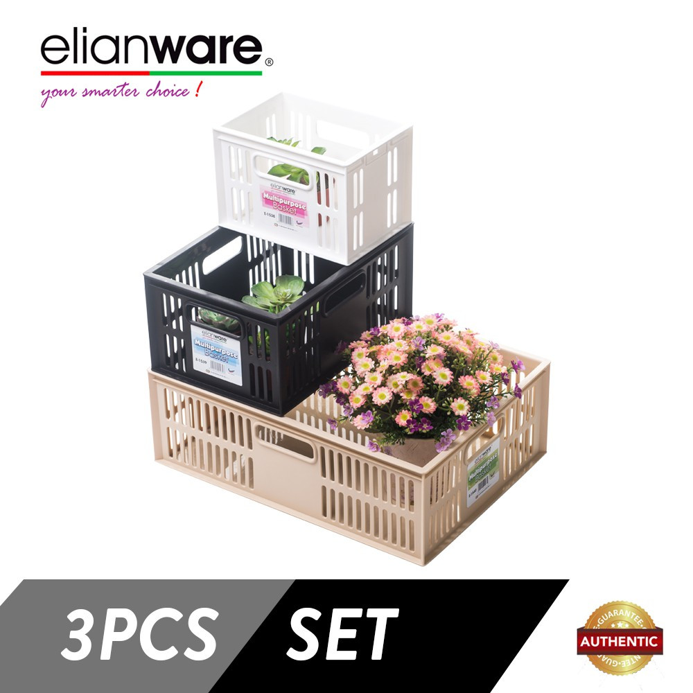 image of Elianware 3 Pcs Stackable High Quality PP Multipurpose Basket
