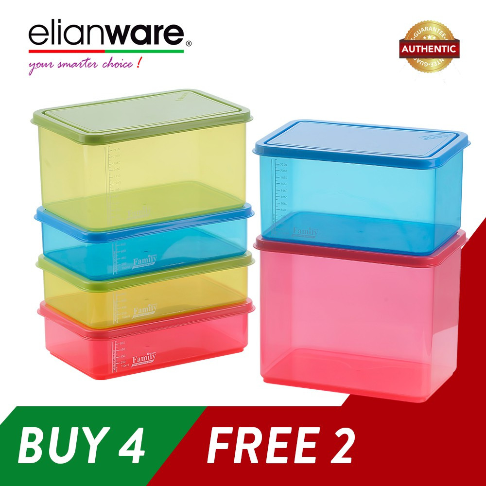 image of Elianware (BUY 4 FREE 2) BPA FREE Food Containers Family Set