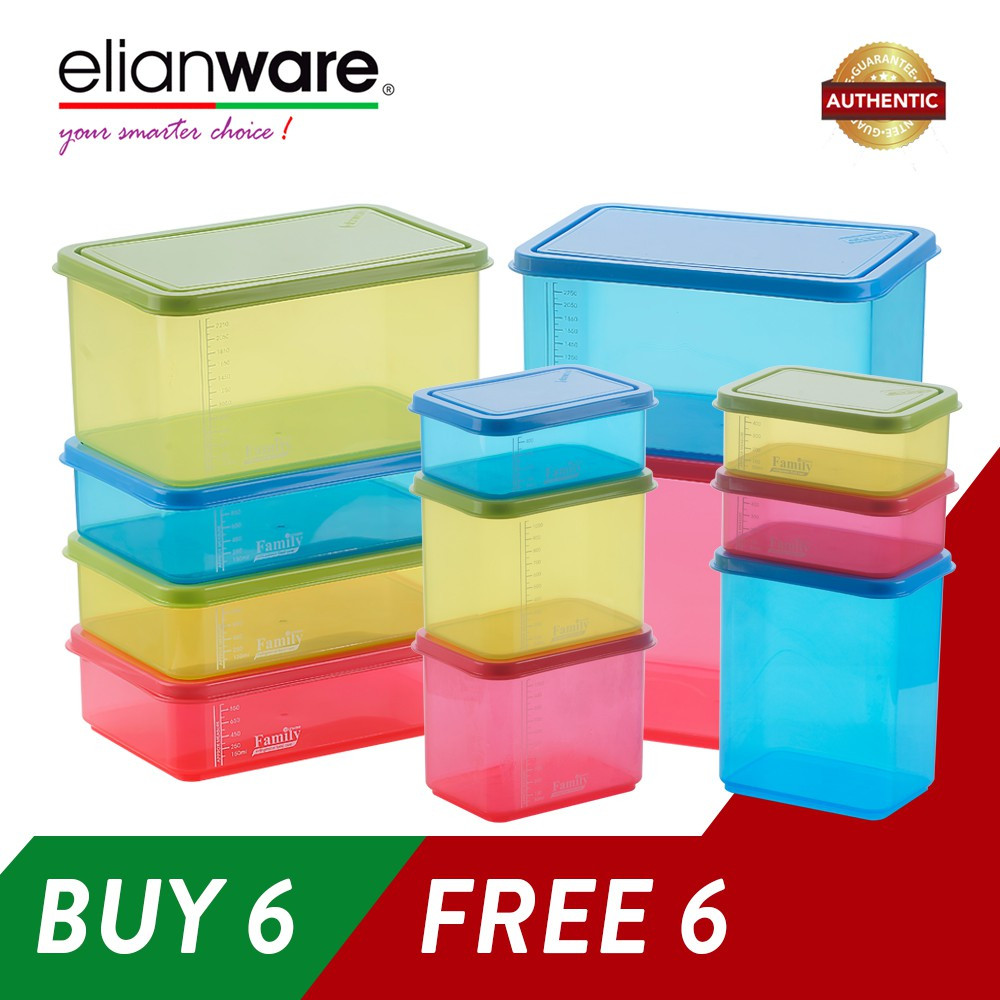 image of Elianware (BUY 6 FREE 6) BPA FREE Food Containers Family Set