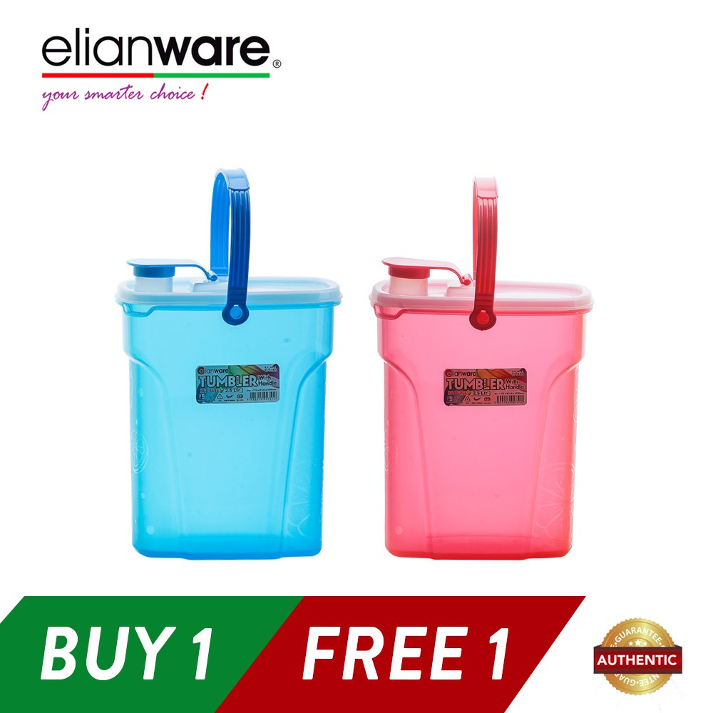 image of Elianware 2 x 2.5Ltr BPA Free Portable Easy Carry Daily Large Water Tumbler with Handle