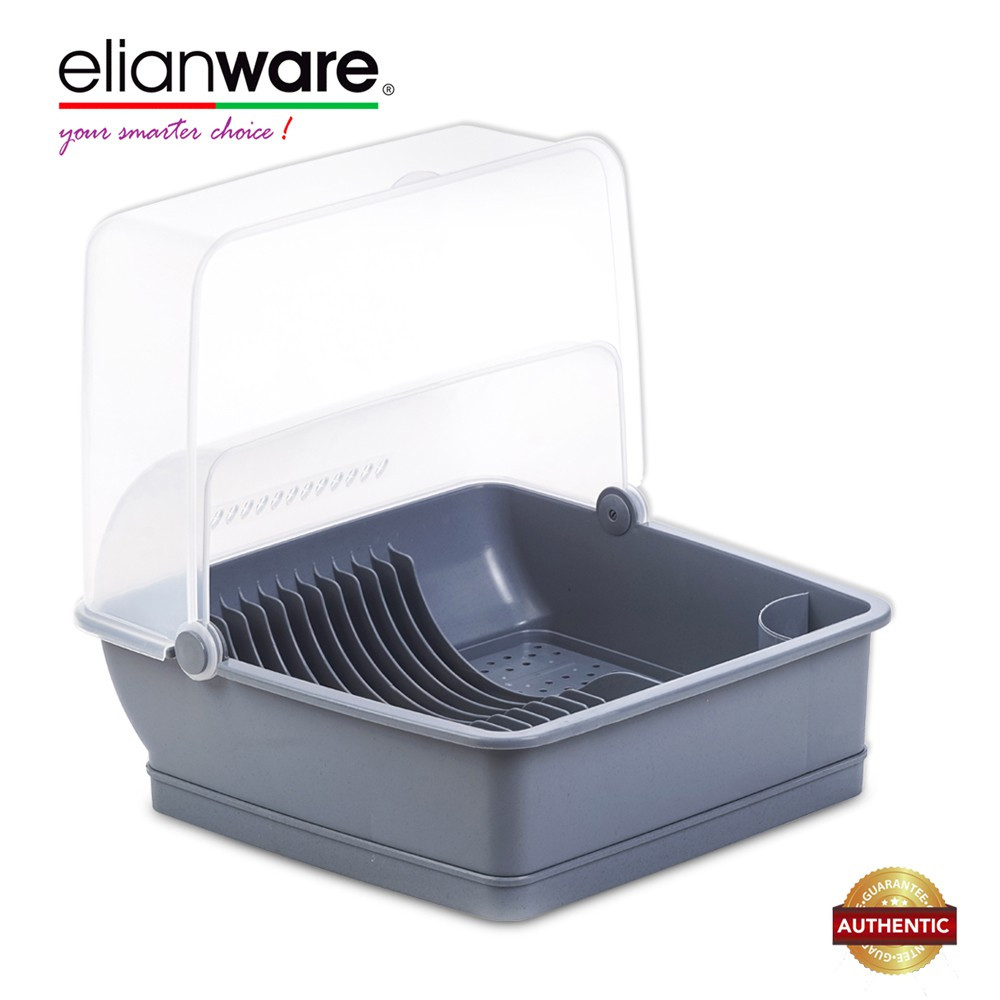 image of Elianware Extra Large Dust Free Home Dish Rack Disk Drainer with Cover