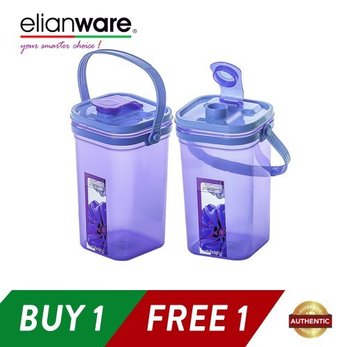 image of Elianware 1.5Ltr x 2 Square E-Fresh BPA Free Water Tumbler with Handle