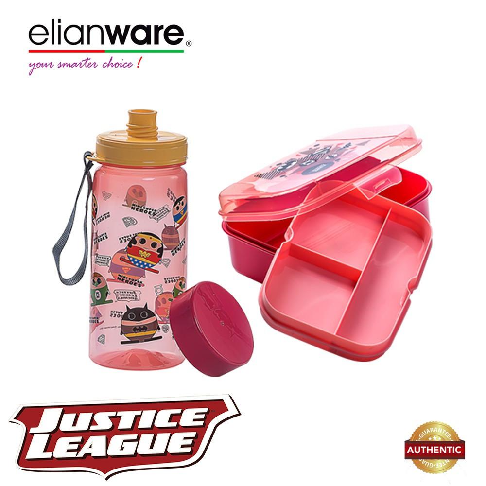 Elianware DC Justice League Mini Superheroes Lunchbox & Water Tumbler Value Set