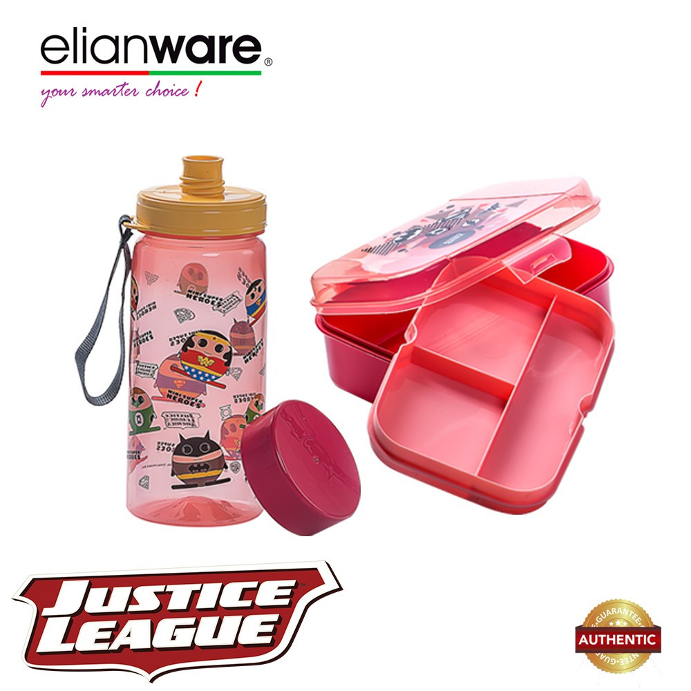 image of  Elianware DC Justice League Mini Superheroes Lunchbox & Water Tumbler Value Set