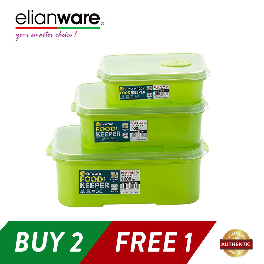 image of Elianware 3 Pcs BPA Free Special Food Keeper Set Microwavable Food Container (Buy 2PCS Free 1PCS Set)