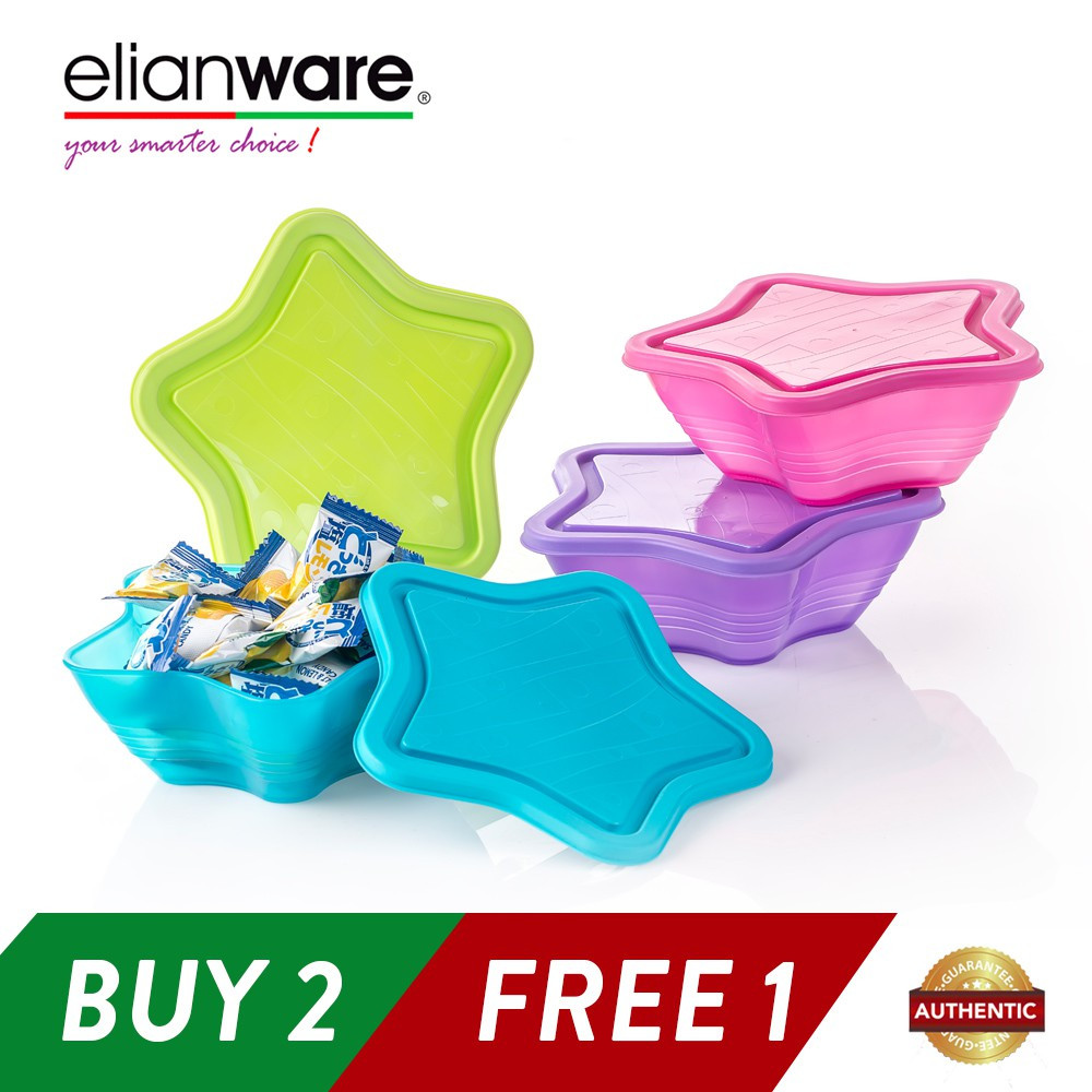 Elianware 3 Pcs 500ml Star Bowl Multipurpose Airtight Container