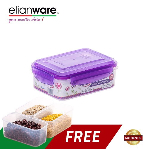 image of Elianware 1 Ltr BPA FREE Food Keeper [Free 3 Compartments]