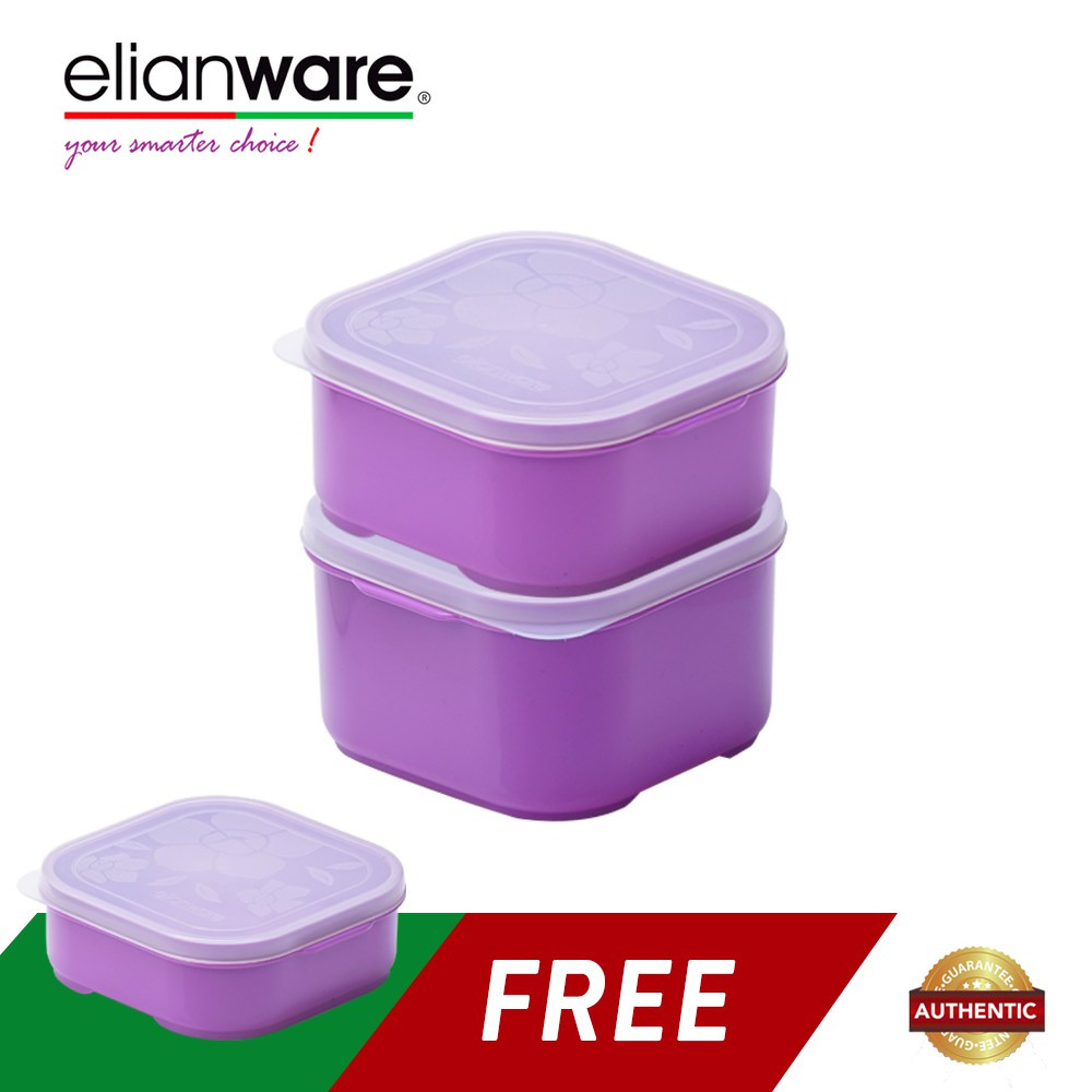 image of Elianware 3 Pcs Square Colourful Plastic Food Containers Set BPA Free