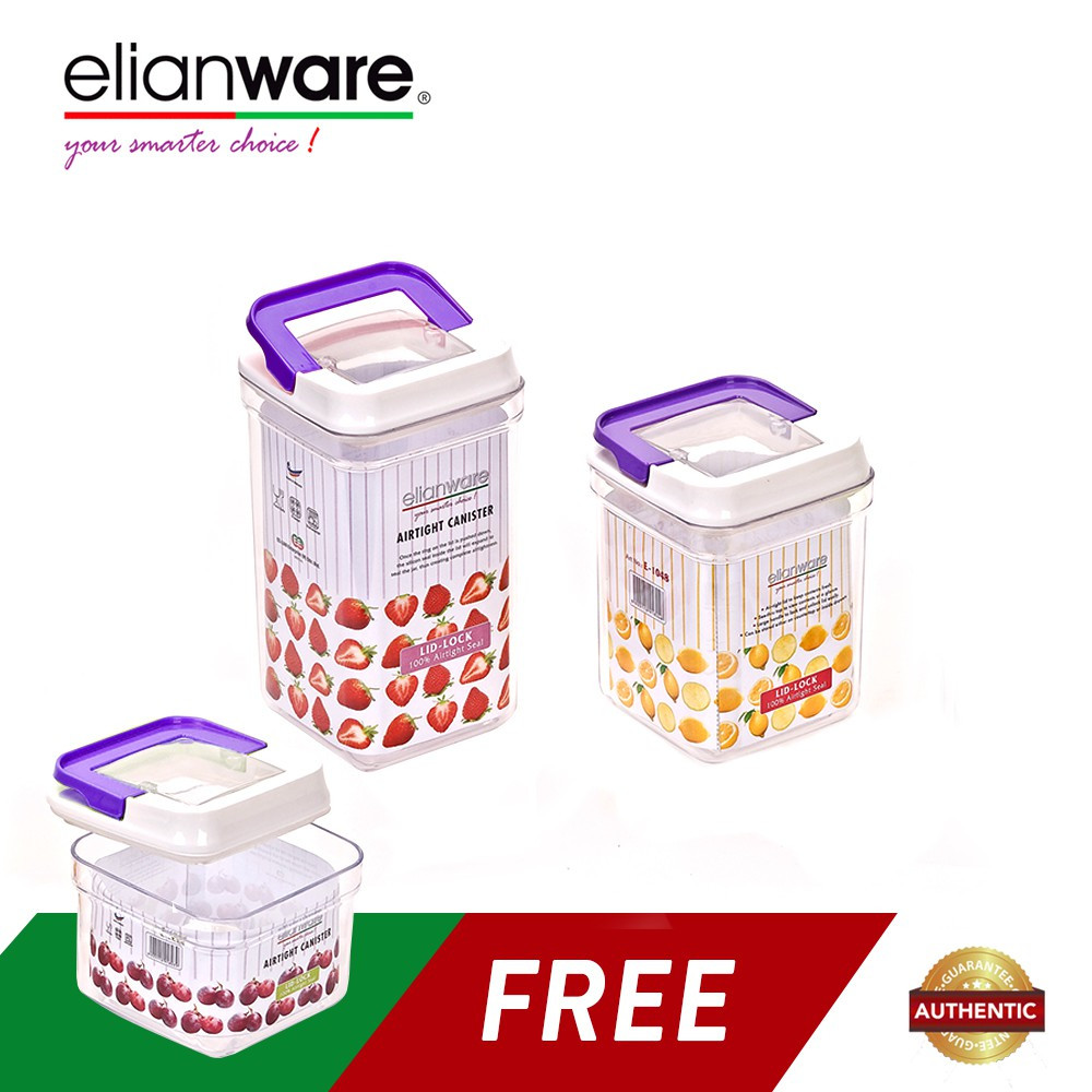 image of Elianware 3pcs Elegant Plastic Airtight Canister Clear Container Multipurpose Food Storage Keeper Box