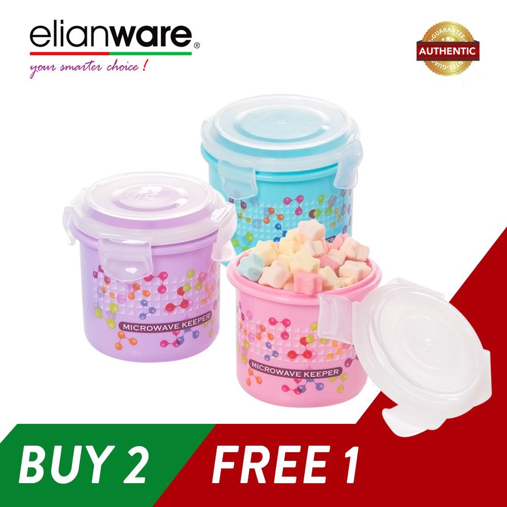 Elianware (BUY 2 Pcs FREE 1Pcs) 400ml Ezy-Lock 100% Airtight Neutron Round Food Containers