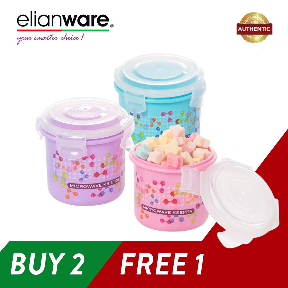 image of Elianware (BUY 2 Pcs FREE 1Pcs) 400ml Ezy-Lock 100% Airtight Neutron Round Food Containers