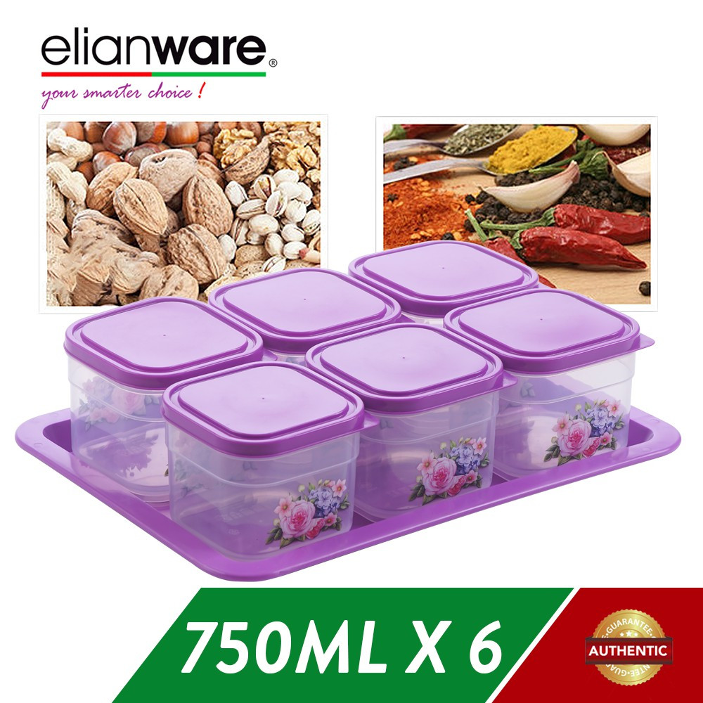 image of Elianware BPA Free Cookies Snacks Candy Square Plastic Container with Tray
