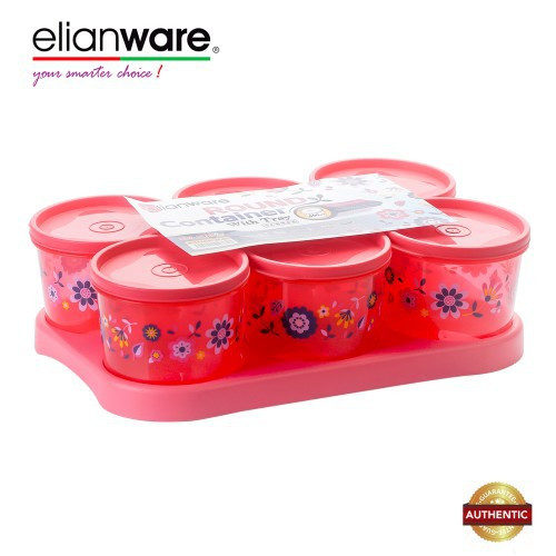 Elianware BPA Free Cookies Snacks Candy Square Plastic Container with Tray