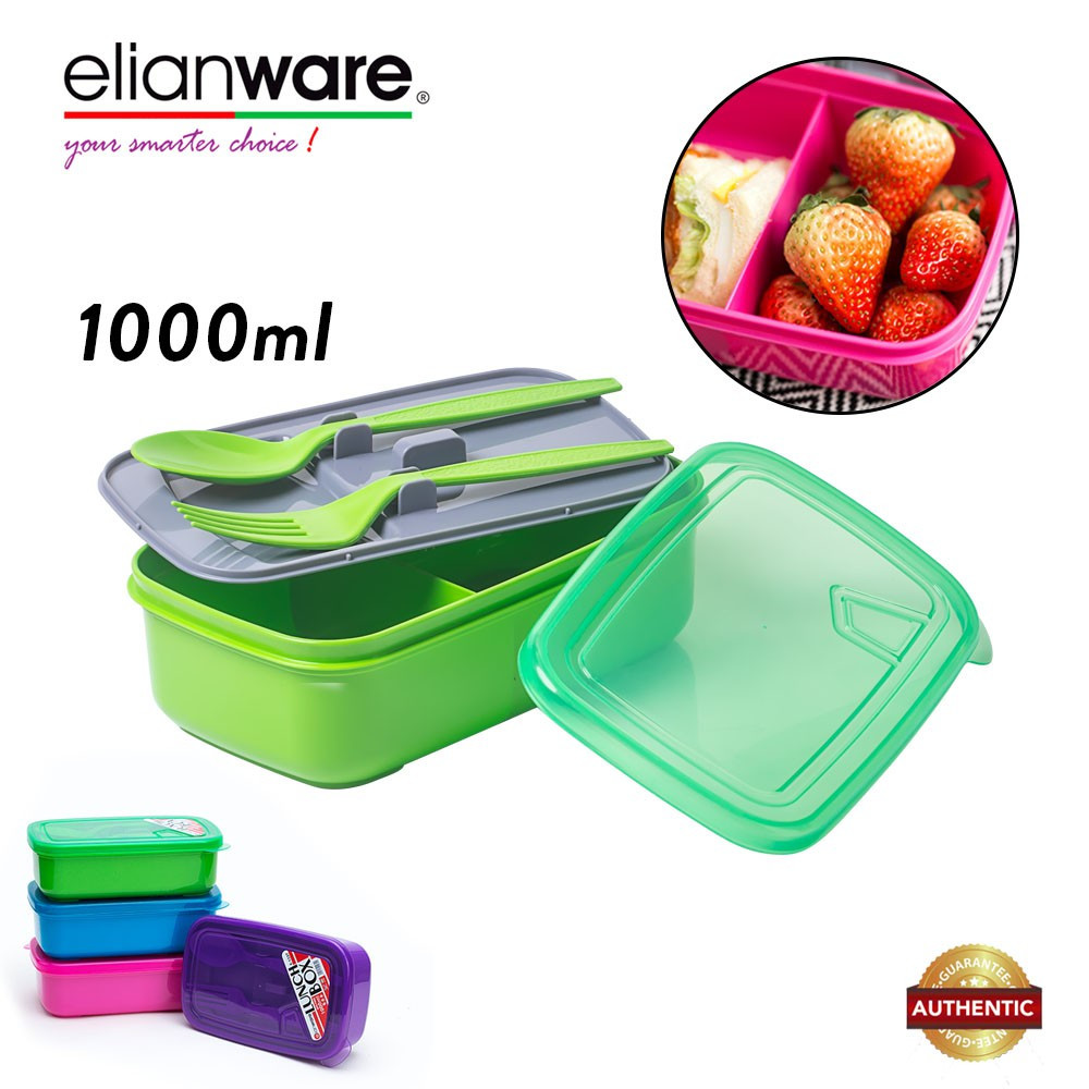 image of Elianware 1L Food Container with Spoon & Fork