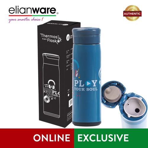 "image of Elianware 470ml Stainless Steel ""Play Your Soul"" High Insulation Thermos Vacuum Flask"
