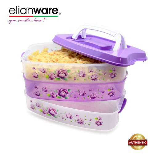 image of Elianware 3 Tiers Grab & GO BPA Free Purple Floral Food Container
