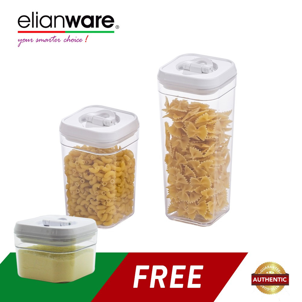Elianware 3pcs Lid Lock White Elegant Airtight Canister