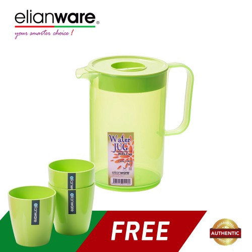 image of Elianware 1.2 Ltr BPA Free Fridge Water Jug [FREE 3 220ml Cups]
