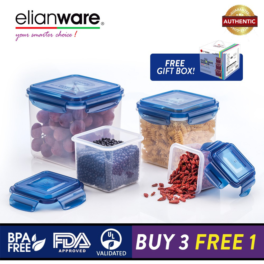 Elianware Ezy-Lock 100% Airtight Seal Microwavable Food Containers [BUY 3 FREE 1]