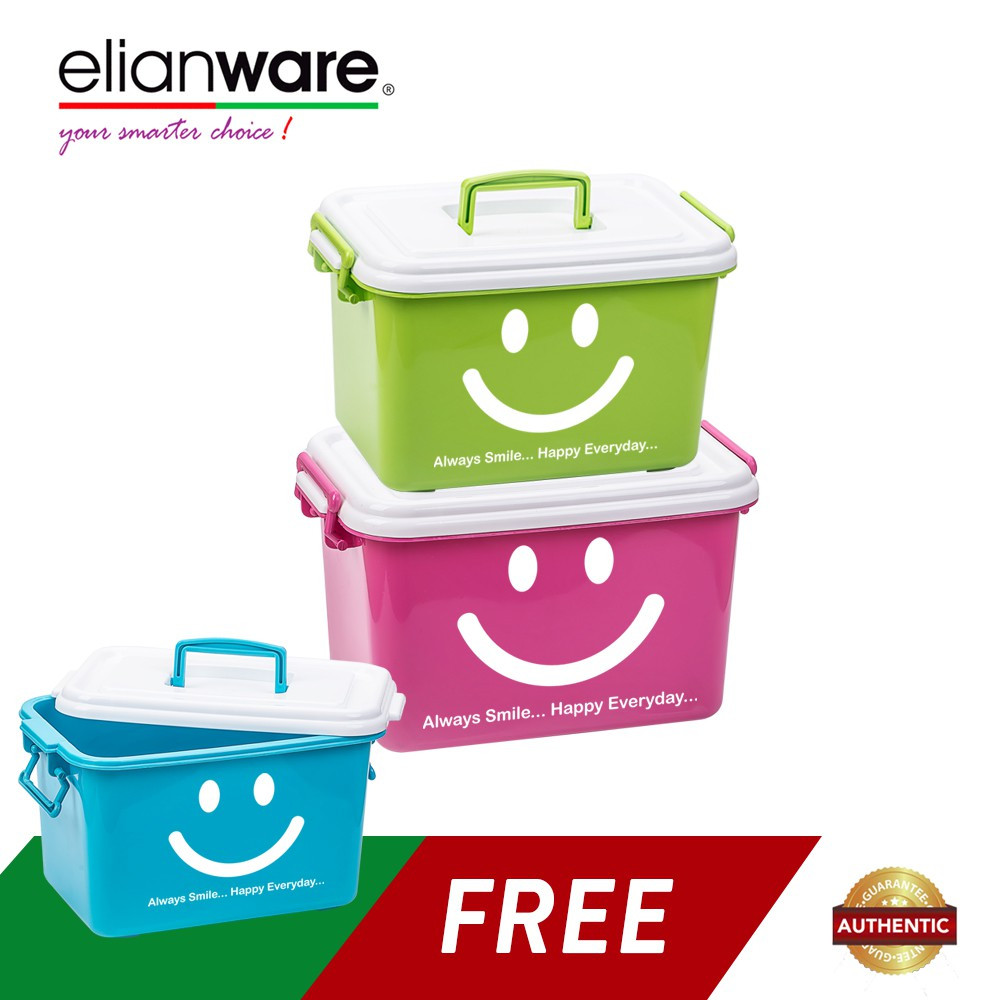 image of Elianware 3 Pcs Smiley Multipurpose Storage Container