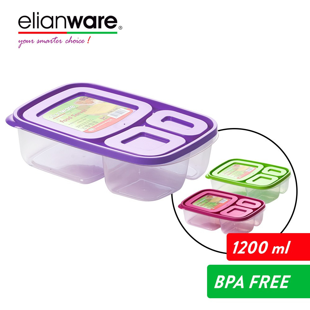 image of Elianware 1.2L 3 Compartment Divided Lunch Box Food Container Microwavable