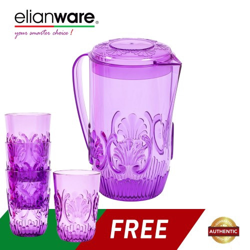 image of Elianware 2 Ltr Acrylic Beautiful Water Jug FREE 4 Cups