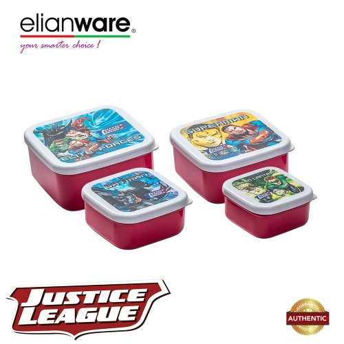 image of Elianware DC Justice League 4 Pcs BPA Free Square Multipurpose Airtight Food Container Set