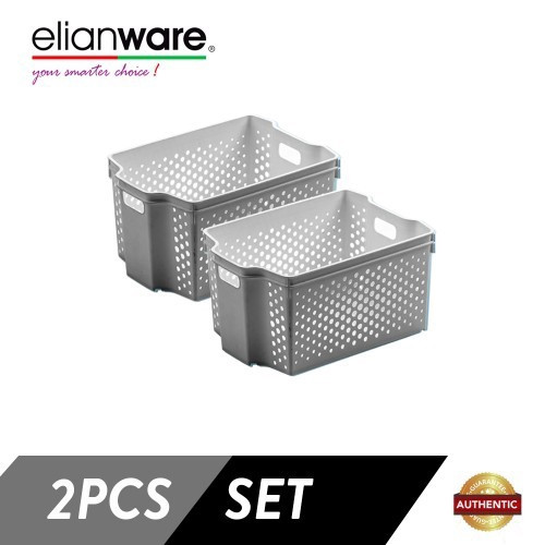 image of Elianware 2 Pcs Clean & Simple Stackable Basket (L2)