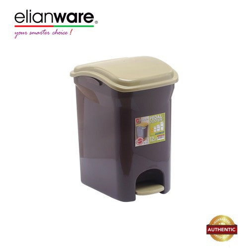 Elianware 12 Ltr BPA Free Antibacteria Antifungal Pedal Dustbin with Trashbag Holder