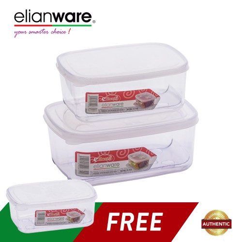 image of Elianware 3 Pcs Transparent Airtight Food Keeper
