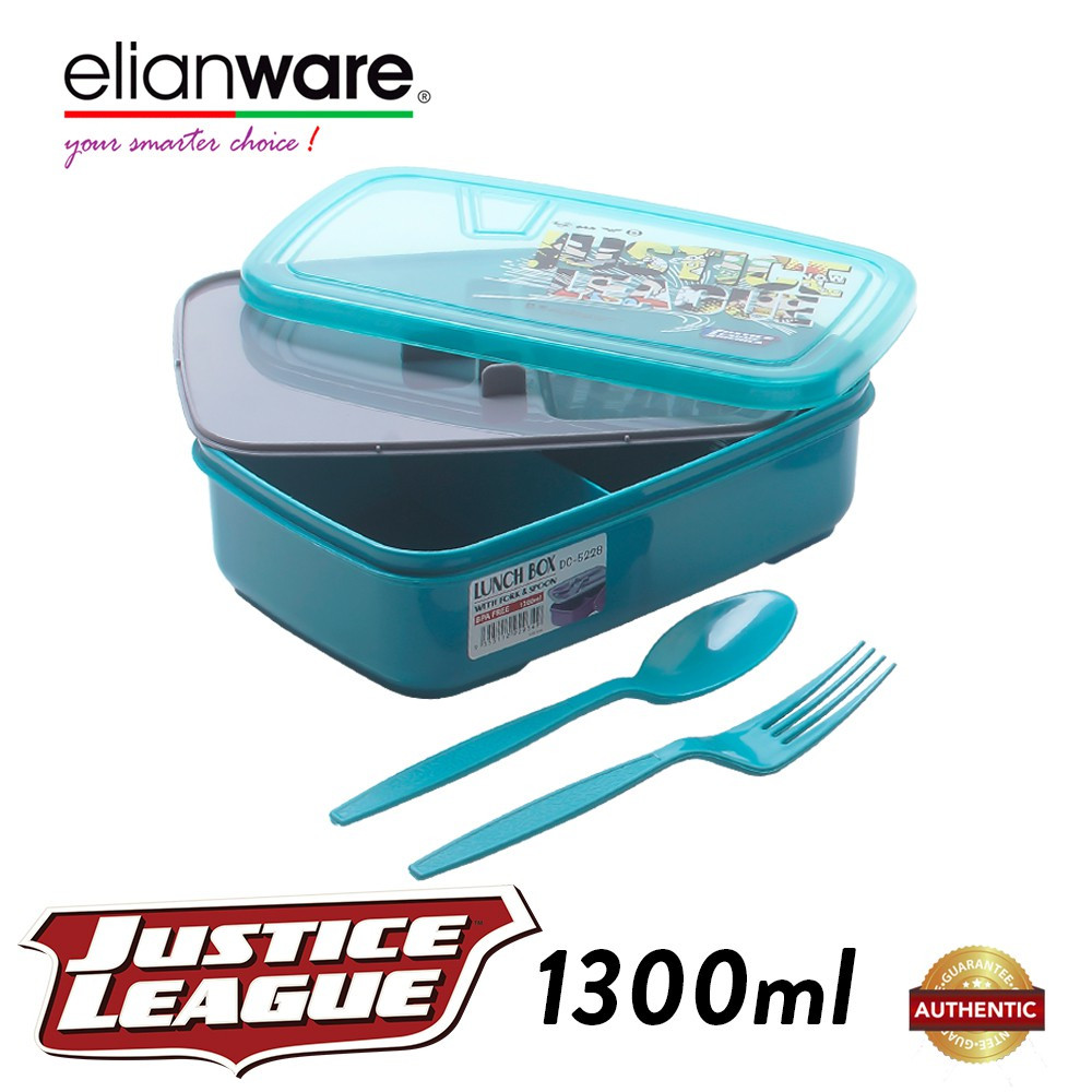 Elianware DC Justice League 1.3L Food Container with Spoon & Fork