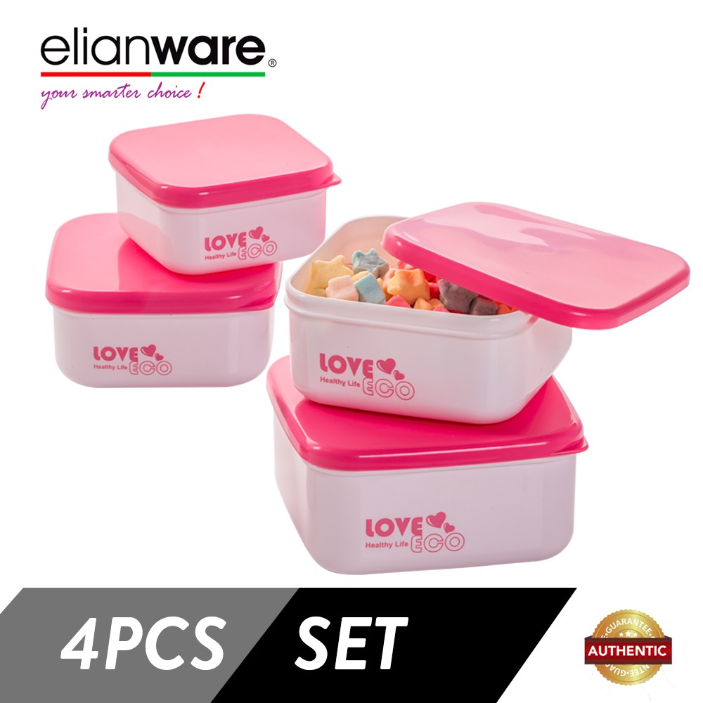 Elianware 4 Pcs BPA Free Square ECO Multipurpose Airtight Food Container Set