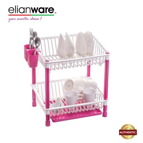 image of Elianware High Quality 2 Tier Dish Drainer with Cutlery Holder