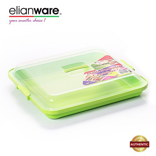 image of Elianware 3.4 Ltr BPA Free Kuih Muih Serving Tray with Cover