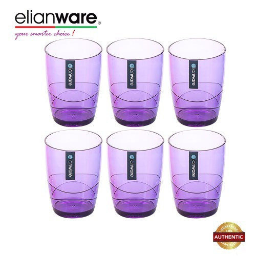 Elianware 330ml x 6 Pcs BPA Free Colourful Modern Drinking Cup Set