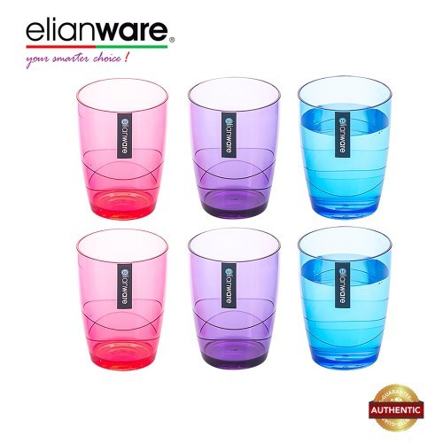 image of Elianware 330ml x 6 Pcs BPA Free Colourful Modern Drinking Cup Set