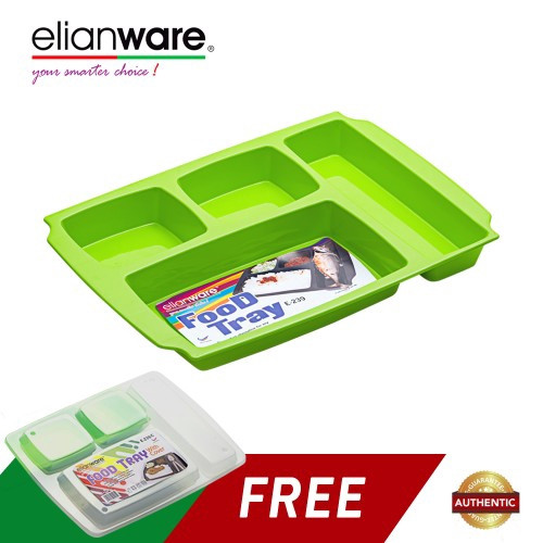 image of Elianware 4 Compartments Cafeteria Nursery school Food Tray (FREE Cover)