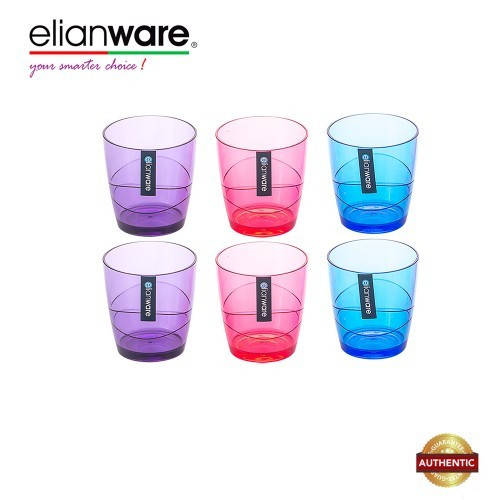Elianware 220ml x 6 Pcs BPA Free Colourful Modern Drinking Cup Set